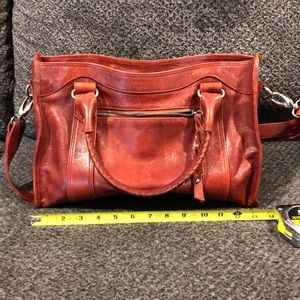 Tanos Red leather satchel with shoulder strap.
